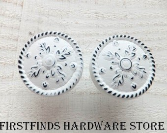2 Knobs White Drawer Pulls Shabby Chic Kitchen Handles Cabinet Hardware Painted Metal Door Snowflakes Cupboard Medium ITEM DETAILS BELOW
