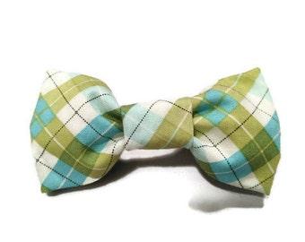 Green Blue Plaid dog bow tie, Wedding dog bow tie, holiday bow tie, green dog tie, blue dog tie, plaid dog tie
