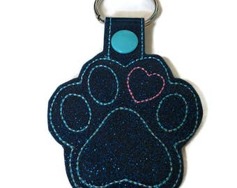 Paw print heart Key Fob Key Chain mom gift dad gift pet lover gift