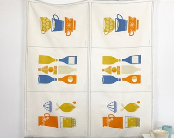 British Invasion Panel by Rachel Cave for Cloud 9 Certified Organic Cotton/Linen Orange Gold Blue Fabric Craft Fabric for Tea Towels Kitchen