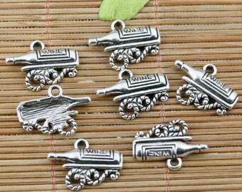 16pcs tibetan silver plated wine on wine rack design charms EF2303