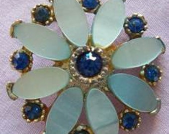 Vintage 1960s Brooch Navy Rhinestones and Blue Lucite Flower