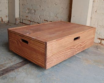Under Bed Storage Rolling Crate/ Sliding Lid Box/ Organization/ Wooden Crate