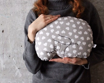 Bunny rabbit pillow stuffed toy boho nursery decor 9x12 inches primitive animal baby shower gift rustic grey white hearts