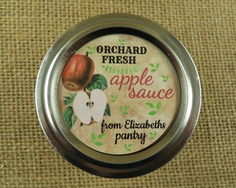 Mason Jar Canning Labels -  Vintage Apple Design - Personalized Canning Labels  - 20 - 2 Inch Round or 12-2.5Inch Round Sticker Labels - vfc
