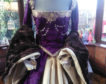 Handmade Medieval Tudor regency gown your color choice with headress & hooped petticote Anne Bolyne Tudor queen princess stage party banquet