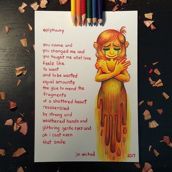 Coloured Pencil Sketch Drawing - Epiphany Original Poem Poetry