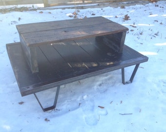 Industrial warehouse cart coffee table Reclaimed Vermont Barnwood table