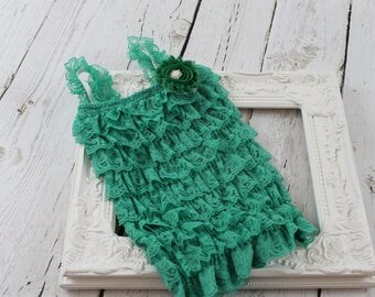 Green Lace Romper Green Petti Lace Romper Green Ruffle Romper St Patricks Newborn Lace Romper St Pattys Lace Romper St Patricks photo