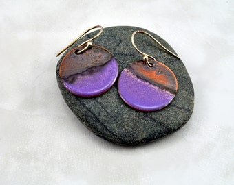 Flat Purple Enamel & Copper Earrings with Torch Fired Patina