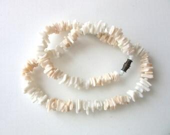Puka Shell Necklace White & Pale Peach 16 Inches Surfer Jewelry Coachella