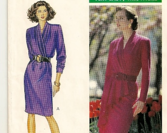"A Women's Raised Neckline, Long Sleeve, Slim Skirt Dress Pattern w/Optional Flutter Overlay: Sizes 12 & 14 Bust 34"" - 36"" • Butterick 4297"