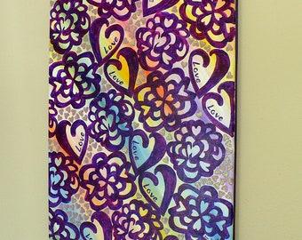 original acrylic painting, abstract art, purple painting, wall art, colorful art, colorful painting, mixed media, flower painting, hearts
