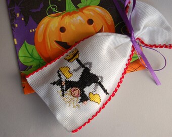 Halloween, cross stitch,ready to ship,bag handmade,home,party, kids,children,house, decoration, ornament,sweet, red,black,witch,house