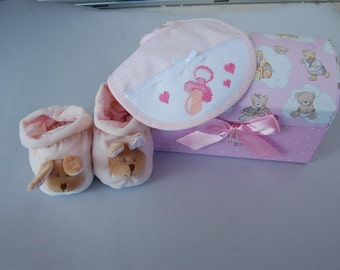 Ready to ship, box,shoes,bib,baby,handmade, newborn, cotton, rabbit, pink,gift,infant, birth,chenille,made in Italy, present, female
