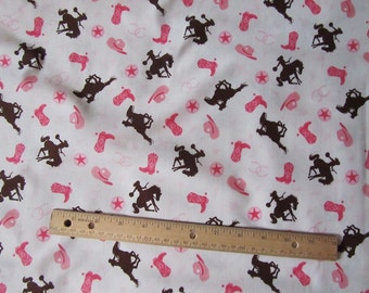 Riley Blake Cow Girl White Rodeo/Horse/Boots Cotton Fabric by the Yard