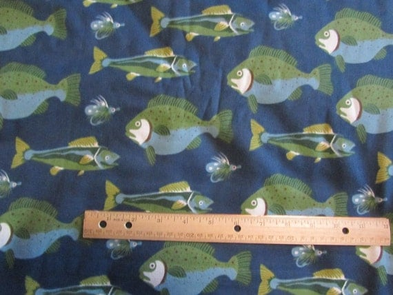 Blue with green fish flannel fabric by the yard for Fish fabric by the yard