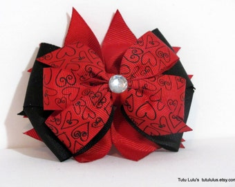Valentine's Day Hair Bow, Valentine Bow, Black and Red Hair Bow, Hair Clip,  Heart Hair Bow, Boutique Bow, Kids Fashion, Valentine Gifts
