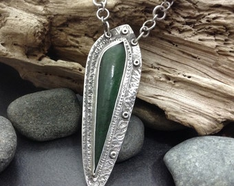 Green BC jade pendant necklace, sterling silver metalwork heavy handmade chain, 20 & 5/8 inches long unique statement jewelry, one of a kind
