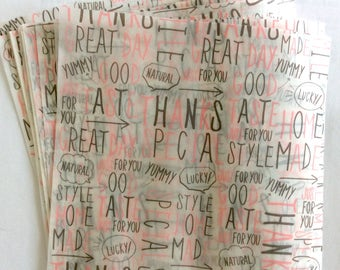 "CLEARANCE Small Wax Paper Sheets ""Happy Words"" 30 Pieces Boxed From Amifa of Japan."