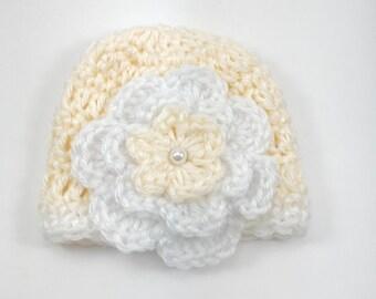 Premie hat, baby girl hat, crochet premie hat, crochet baby hat, yellow hat, hat with flower