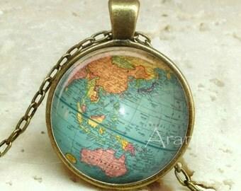 Globe art pendant, globe pendant, globe pendant, atlas necklace, map jewelry, vintage globe necklace, map, antique globe, Pendant#HG188HG