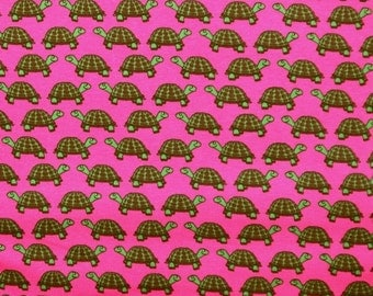 Cotton Jersey fabric, turtle, pink, 50 cm