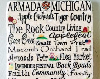 Armada Michigan Tumbled Tile Coasters with Cork backing. Set of 4