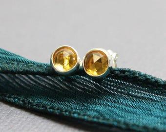 Citrine Earrings, Citrine Stud Earrings, Citrine Post Earrings, 4mm Citrine Earrings, Citrine Studs, Citrine Earrings, Kathy Bankston