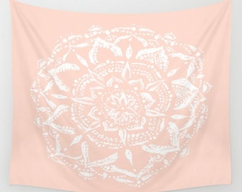 Pastel Pink Mandala Wall Tapestry, pink wall tapestry, bohemian tapestry, mandala tapestry, dorm decor, light pink tapestry, blush tapestry