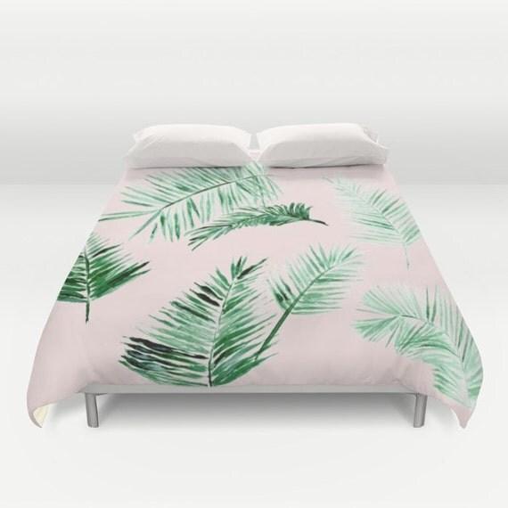 Pink Palm Leaf Duvet Cover Palm Leaf Duvet Leaf Duvet Cover