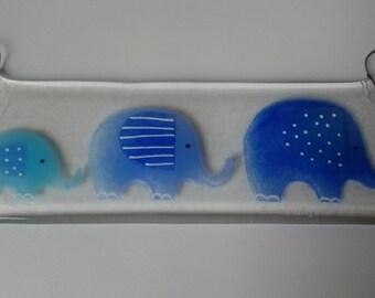 Fused Glass Elephant Hanger, elephant family, new baby, blue