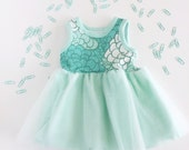 Mint Blossom Avery Dress with tulle princess skirt