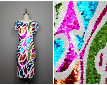 Vintage Glam Sequin Dress // Vibrant Sequined Dress by Adrienne Vittadini