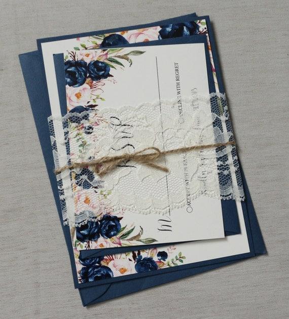 Navy and blush Floral Boho Wedding Invitation