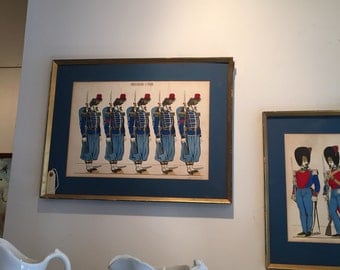 Pair Antique French Hand Colored Prints of Soldiers