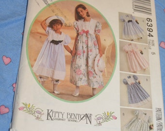 McCalls 6394 Childrens and Girls Dress Pantaloons and Hatband Sewing Pattern - UNCUT - Sizes 5