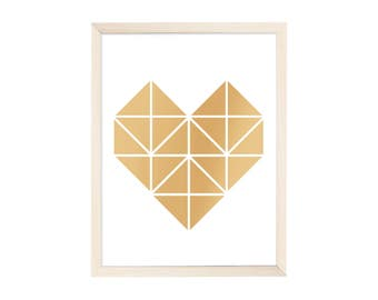 Art Print Origami Heart Gold