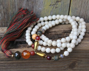 Beautiful river stone jasper gemstone mala necklace