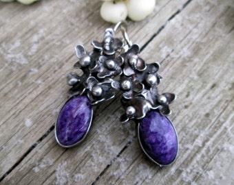 gorgeous charoite-Earrings