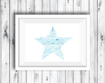 Personalised Star Word Art, Word Art Print, Personalised Print, Nursery Print, Baby Gift, Naming Day Print, Baby Keepsake, Communion Gift