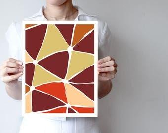 Brown Wall Art Prints - Abstract Art Prints - Geometric Decor- Abstract Wall Art - Abstract Art Print - Modern Art - Triangle Art