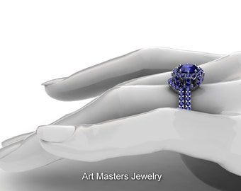 French 14K White Gold 1.0 Ct Blue Sapphire Engagement Ring Wedding Band Set R408S-14KWGBS