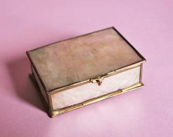Delicate Vintage Rectangular Capiz Shell Trinket Box/Match box size