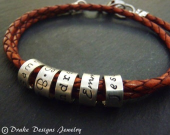 braided leather custom name bracelet with hand stamped charms with names or words personalized womens or mens bracelet gift for her or him