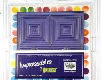 Gel Press Impressables 7x7 Embossed Gel Plate Squares in Squares