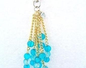 Handbag Charm Crackle Glazed Beads Turquoise Blue & Clear - 2742