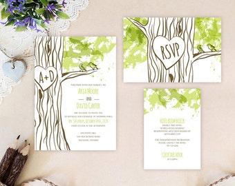 Tree themed wedding invitation packages | Rustic wedding invitations printed on white premium cardstock | Love birds wedding invites