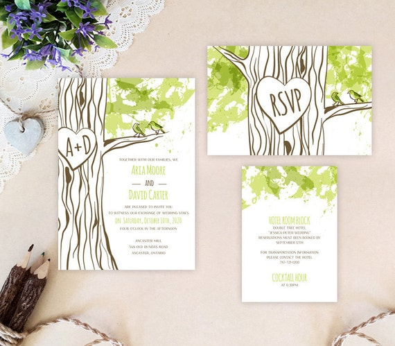Cheap Cardstock For Wedding Invitations : Tree themed wedding invitation packages Rustic wedding