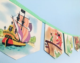 Peter Pan and the Pirates LITTLE GOLDEN BOOK banner bunting garland baby shower disney nursery decor pirate boy party birthday decoration